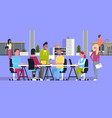 creative team meeting in coworking office casual vector image vector image
