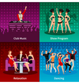Dance Club 4 Flat Icons Square vector image