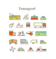 different thin line color icons set transport vector image vector image