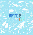 diving is my life background with vector image