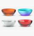 empty realistic food bowls plastic glass vector image vector image