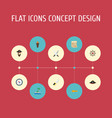 flat icons pirate hat sword treasure map and vector image vector image