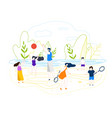flat summer beach games on background river vector image