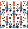Girl hipster flat style seamless pattern vector image
