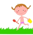 Girl runs across grass with scoop and backet vector image vector image