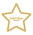 gold chain star border frame wreath starry shape vector image vector image