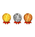 gold silver and bronze medals winner awards vector image