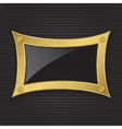 Golden frame with screws on abstract metallic back vector image