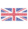 great britain flag mosaic of skull icons vector image vector image