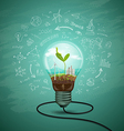 Green seedlings in a light bulb ecology vector image vector image