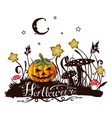 halloween silhouette with colorful design elements vector image vector image