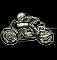 hand drawing skull riding vintage motorcycle vector image vector image
