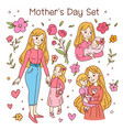 happy friendship day set mother and daughter vector image