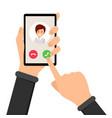 incoming call ringing phone vector image