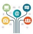 internet communication set icons vector image