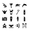 island solid icons set vector image vector image