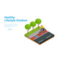 isometric people on bicycle ride on bicycle vector image vector image