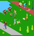 isometric people training dogs in the city park vector image vector image