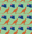 Kangaroos and Australian flag seamless pattern vector image