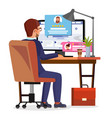 man writing client testimonial on internet online vector image vector image