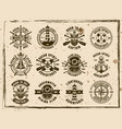 maritime emblems on textured background vector image vector image