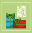 merry christmas card with gift boxes decoration vector image