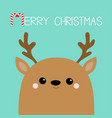 merry christmas raindeer deer head face big horns vector image