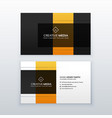 modern minimal yellow and black business card vector image vector image