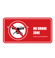 No drone zone sign - quadcopter flights prohibited vector image