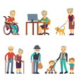 old age people in different situations senior man vector image