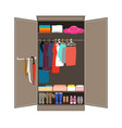 open wardrobe with tidy clothes home interior vector image