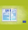 realistic open plastic window vector image vector image