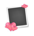 realistic photo frame with hearts decor vector image vector image