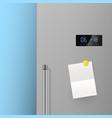 realistic refrigerator door with blank note vector image vector image