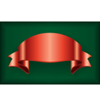 Red ribbon satin bow blank banner green vector image vector image