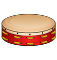 Red tambourine on white vector image vector image