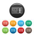 retro digital clock icons set color vector image