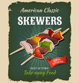 retro fast food skewers poster vector image vector image