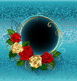 round banner with roses on a blue background vector image vector image