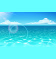 sea water surface and glowing sun with clouds vector image vector image