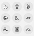 set of 9 editable cleanup icons line style vector image