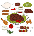 set of hand drawn bbq objects isolated image vector image vector image