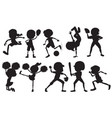 set of silhouette sport athlete character vector image