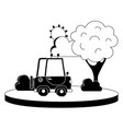 silhouette agrimotor car in the city with tree and vector image