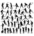 silhouettes sport tennis and golf activity vector image vector image