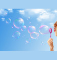 soap bubbles realistic background vector image vector image