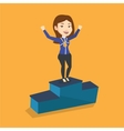 Sportswoman celebrating on the winners podium vector image vector image