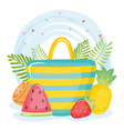 summer holiday poster with hand bag and icons vector image vector image