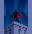 superhero roof watching silhouette vector image vector image