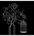 Swirl tree bird cage vector image vector image